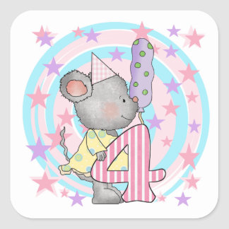 Mouse 4th birthday T-shirts and Gifts Square Sticker