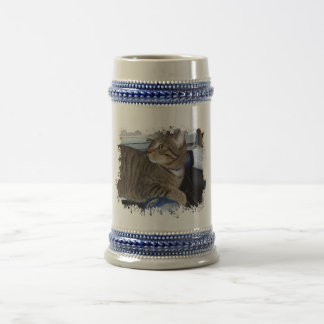 Mouse addicted cat 18 oz beer stein