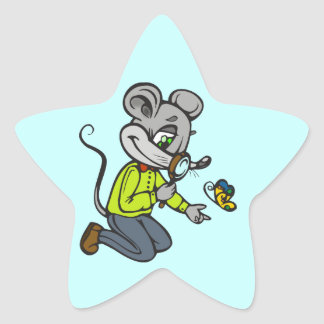 Mouse and Butterfly Star Sticker
