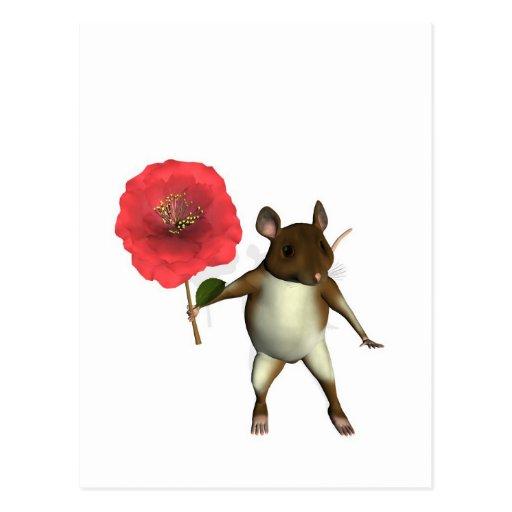 mouse and camelia postcard