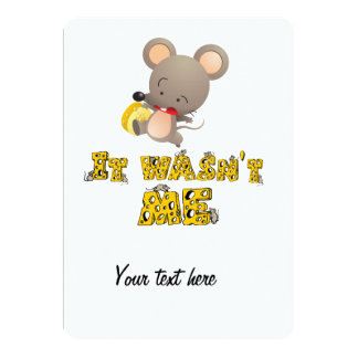 Mouse and cheese .. 5x7 paper invitation card