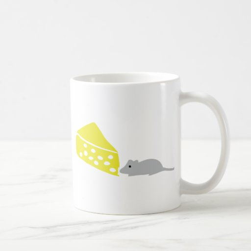 mouse and cheese icon classic white coffee mug