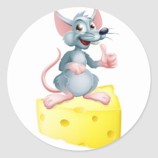 Mouse and cheese round sticker