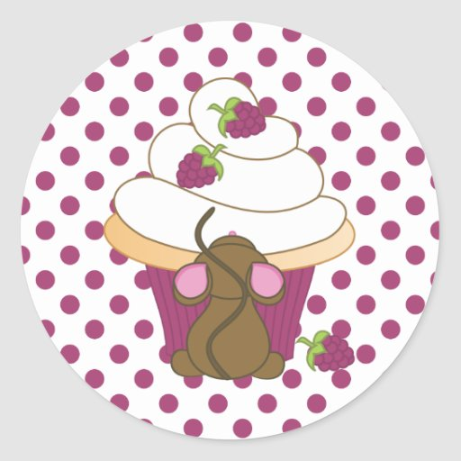 Mouse and Cupcake Classic Round Sticker