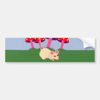 Mouse and Mushroom Cartoon Art Car Bumper Sticker