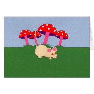 Mouse and Mushroom Cartoon Art Card