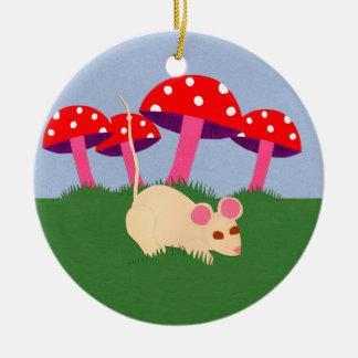 Mouse and Mushroom Cartoon Art Ceramic Ornament