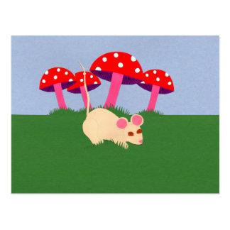 Mouse and Mushroom Cartoon Art Postcard