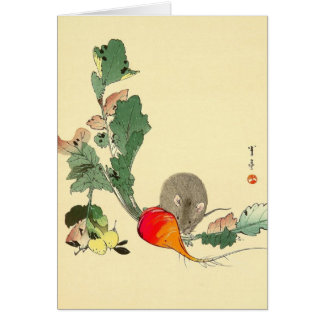 Mouse and Red Radish, Japanese Painting c.1800s Card