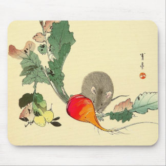 Mouse and Red Radish, Japanese Painting c.1800s Mouse Pad