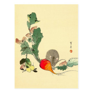 Mouse and Red Radish, Japanese Painting c.1800s Post Card