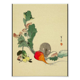 Mouse and Red Radish, Japanese Painting c.1800s Poster