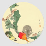 Mouse and Red Radish, Japanese Painting c.1800s Classic Round Sticker