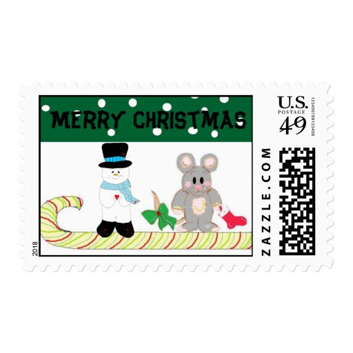 Mouse and Snowman Postage