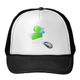 Mouse and social media icon concept mesh hats