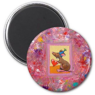 Mouse art - fun generous heart love sharing fridge magnets