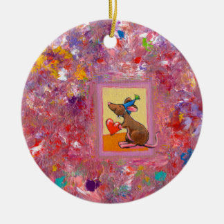 Mouse art fun generous heart love sharing party christmas tree ornaments