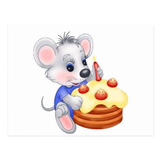 mouse birthday cake postcard