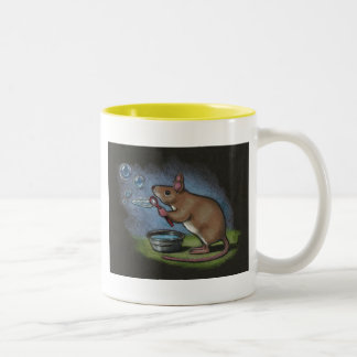 Mouse Blowing Bubbles: Color Pencil Drawing Two-Tone Coffee Mug