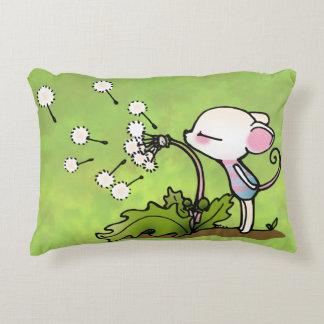 Mouse Blowing on Dandelion Accent Pillow