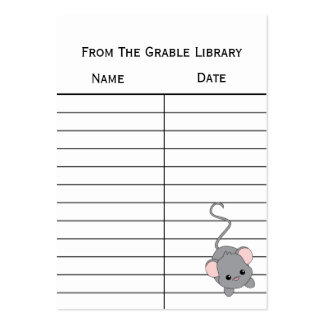 Mouse Book Return Cards Business Card