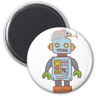 Mouse Building Robot 2 Inch Round Magnet