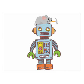Mouse Building Robot Post Card