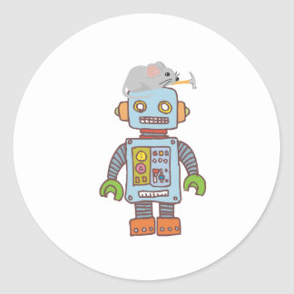 Mouse Building Robot Round Sticker