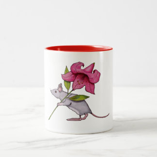 Mouse Carrying a Big Pink Lily flower Two-Tone Coffee Mug