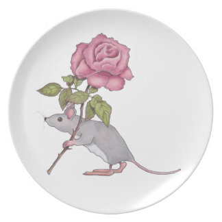 Mouse Carrying a Pink Rose, Color Pencil Art Party Plates