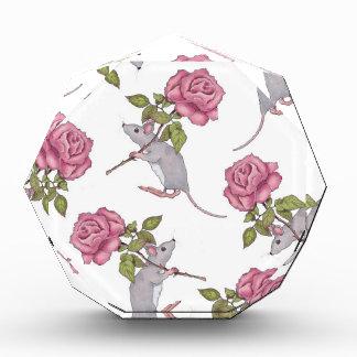 Mouse Carrying a Pink Rose, Random Pattern, Art Acrylic Award