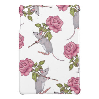 Mouse Carrying a Pink Rose, Random Pattern, Art Cover For The iPad Mini