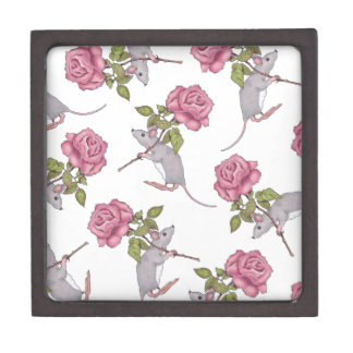 Mouse Carrying a Pink Rose, Random Pattern, Art Jewelry Box