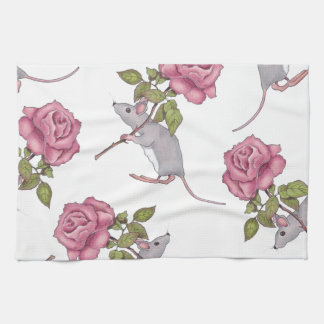 Mouse Carrying a Pink Rose, Random Pattern, Art Kitchen Towels