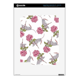 Mouse Carrying a Pink Rose, Random Pattern, Art Skins For iPad 3