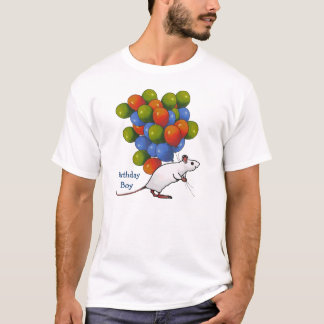 Mouse Carrying LOTS of Balloons: Birthday Boy T-Shirt