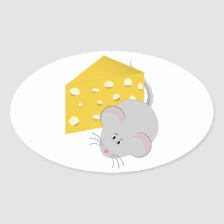 Mouse & Cheese Oval Sticker