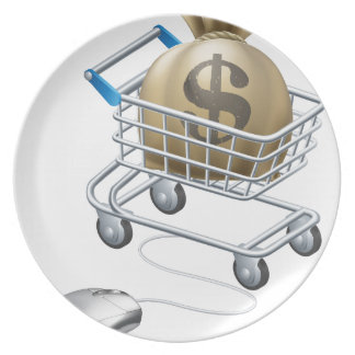 Mouse connected to trolley full of money dinner plate