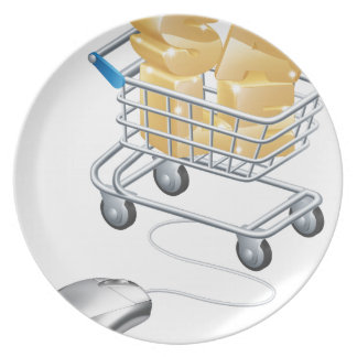 Mouse connected to trolley web sale concept plates