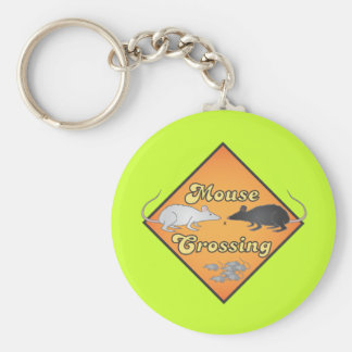 Mouse Crossing Basic Round Button Keychain