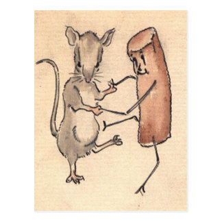 Mouse dancing with Croquette Postcard