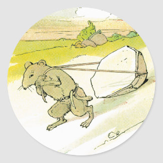 Mouse Dragging Big Rock Classic Round Sticker