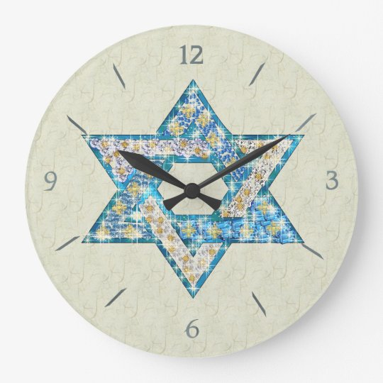 Mouse Drawn Gem Decorated Star Of David Large Clock
