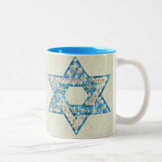 Mouse-Drawn Gem Decorated Star Of David Two-Tone Coffee Mug