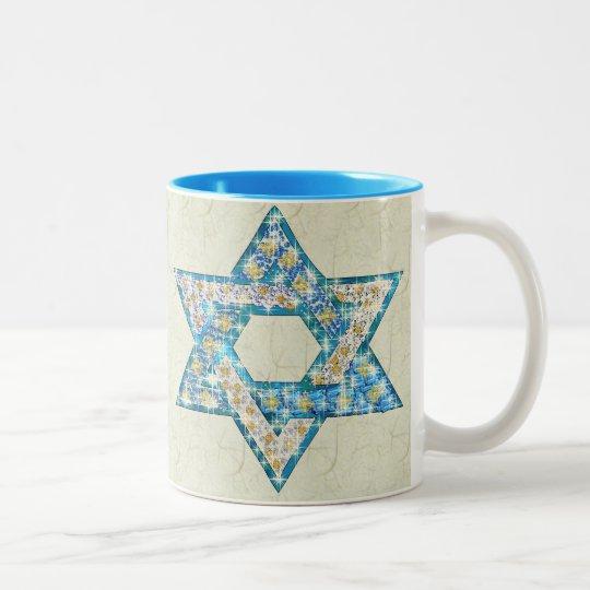 Mouse-Drawn Gem Decorated Star Of David Two-Tone Coffee Mug