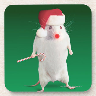 Mouse dressed as Santa Claus Beverage Coaster