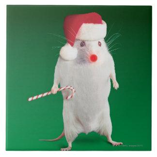 Mouse dressed as Santa Claus Ceramic Tile