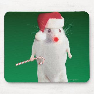 Mouse dressed as Santa Claus Mouse Pad
