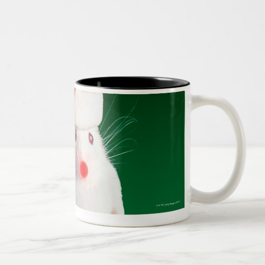 Mouse dressed as Santa Claus Two-Tone Coffee Mug