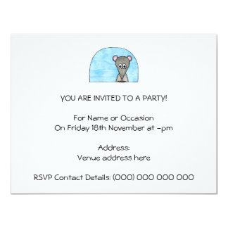 Mouse Driving a Car. 4.25x5.5 Paper Invitation Card